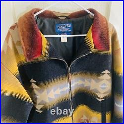 Vtg Pendleton Jacket Southwestern Aztec Wool Western USA Men's XXL Coat Serape