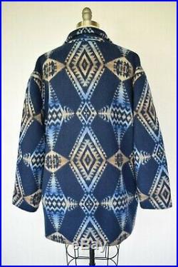 Vtg Pendleton wool blanket Aztec southwest Mexican Navajo blue jacket coat L