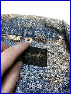Vtg Rare Wrangler's 60s Men's Size 36 Zip-Up Denim Trucker Western Jean Jacket