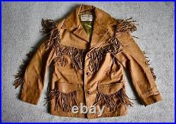 Vtg SCHOTT Rancher Brown Deerskin Leather Western Fringe Jacket Coat Biker 38