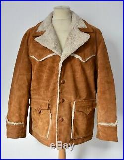 Vtg SCHOTT Suede Leather Sherpa Lined Western RANCHER Coat Jacket Marlboro 46