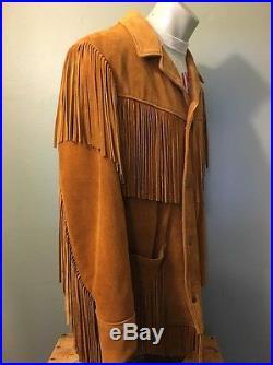 Vtg Schott Leather Fringe Western Jacket Suede Rancher Mens 38 USA Hippie Cowboy