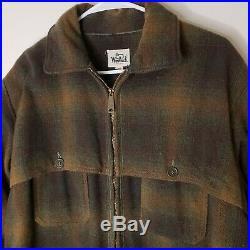 Vtg WOOlRICH HUNTING Men's MACKINAW Wool Brown Green Plaid Zip Jacket Coat Sz 46