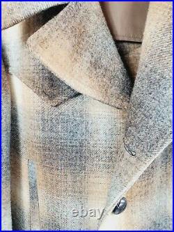 Vtg endleton High Grade Western Wear Jacket Coat Mens Size 40 Plaid Beige/Brown