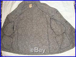 WAHMAKER Mens Heavy Gray Tweed Western Cowboy Double-Breasted Coat Jacket 4-Pokt