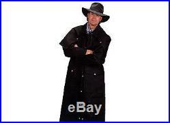 WESTERN Gunfighter Cowboy OLD WEST Mens Black Denim LONG COAT DUSTER witho LINING