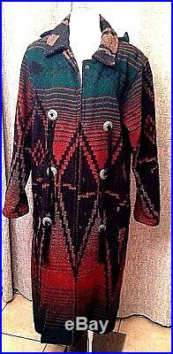 WOOLRICH Southwestern Cowboy Indian Blanket Wool Leather Long Coat Conchos S USA