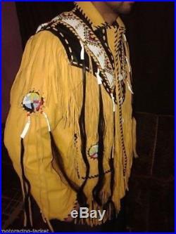 Western Fringed Buckskin Native American Indian Fringe Bones Coat jacket XS 5XL