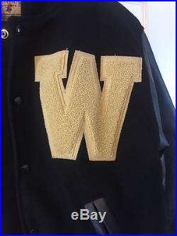 Western MICHIGAN University Mens Broncos WOOL LEATHER VARSITY Medium JACKET