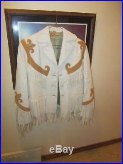 Western Vintage White Leather Fringed Jacket, GERONIMO by FORREST HEATH Co. Inc