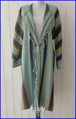 Western Vtg 40's Saltillo Serape Blanket Ranch Coat Duster L Karen Wilkinson