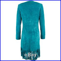 Women New Western Wear Real Suede Leather Jacket coat with Fringes XS TO 5XL