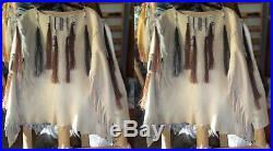 Women Vintage Beige Suede Leather Jacket Ladies Native Fringe Western Wear Shirt