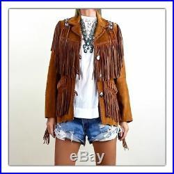 Women Western Coat Suede Leather Wear Cow-Lady Fringe Bones Beads Ladies Jacket