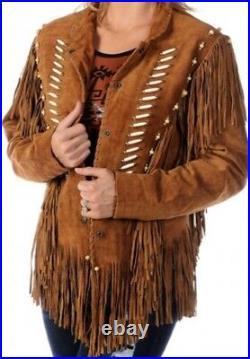 Women Western Suede Leather Jacket Fringe, Bone and Beads NATIVE AMERICAN COAT