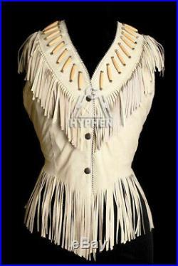 Women Western Suede Leather Vest Coat Cow-Lady Ladies Jacket Fringes Bones Beads