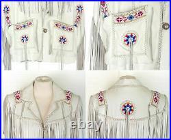 Women Western Suede Leather Wear Coat Ladies Jacket Fringe Bones-Beads 80' Style