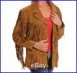 Women Western Vintage Brown Suede Leather Fringe Jacket