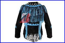 Women's Handmade Western Suede Leather Jacket with Fringe, Bone & Studs