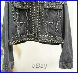 Women's Ladies Denim Blue Punk Studs Denim Jeans Short Biker Jacket Coat Outwear
