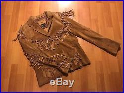 Women's Lauren Ralph Lauren Leather Jacket Brown Fringe Western Size Medium