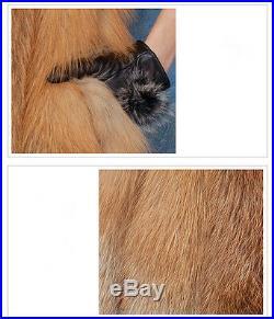 Women's Real Genuine Red Fox Fur Gilet Winter Striped Vest Waistcoat Lady Gift