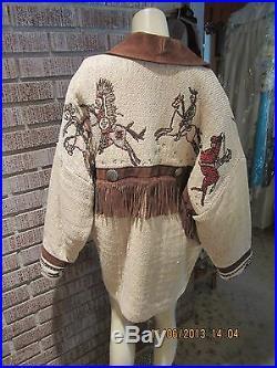 Women's Vintage Pioneer Wear Woven Cotton Western Leather Fringe Coat L