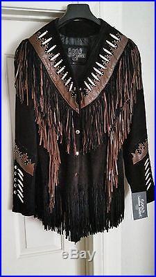 Women's Western Leather Shingled jacket Black/Brn Plus Size XL