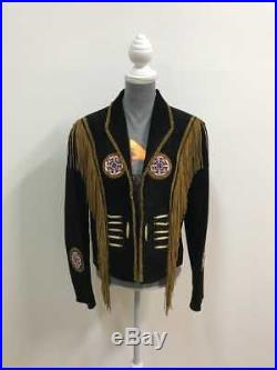 Womens Cowgirl Black Suede Leather Western with Fringe Jacket NATIVE AMERICA