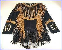 Womens Cowlady Suede Leather Jacket Vintage Native Fringe Bead Bones Snap Coat