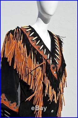 Womens Diamond Leathers Fringe Western Stud Beaded Jacket Black Sz 10 used
