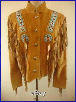 Womens L Frontier Collection jacket cavalry beaded fringe suede military western