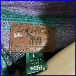 Womens Lauren Ralph Lauren Aztec Western Wool Jacket Sweater USA L