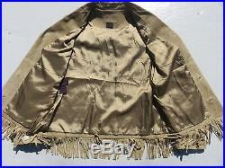 Womens RALPH LAUREN Turquoise Fringe Tassel Leather Western Coat Jacket Medium