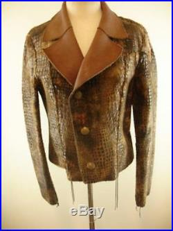 Womens sz L Double D Ranch Wear Western Brown Leather Jacket Reversible Faux Fur