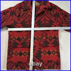Woolrich Vintage USA Aztec Blanket Wool Western Jacket Coat Mens Medium Red