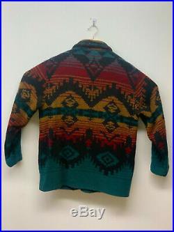 Woolrich Wool Blanket Coat Southwest Aztec Indian Jacket VTG Men Large Navajo