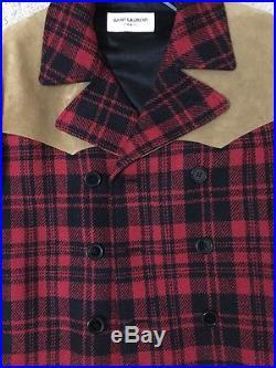 YSL SAINT LAURENT WESTERN CABAN RED BLACK PLAID WOOL SUEDE JACKET COAT $4590 48